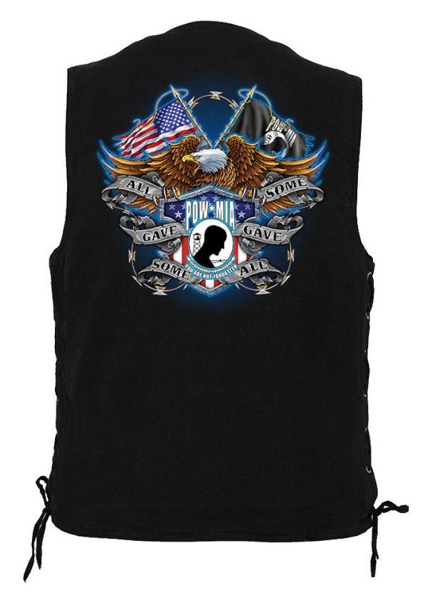men's denim biker vest with all gave some pow mia eagle design