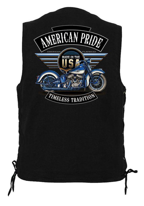 men's denim biker vest with American pride motorcycle design