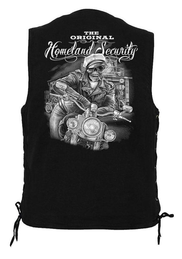 men's denim biker vest with homeland security skeleton dude design