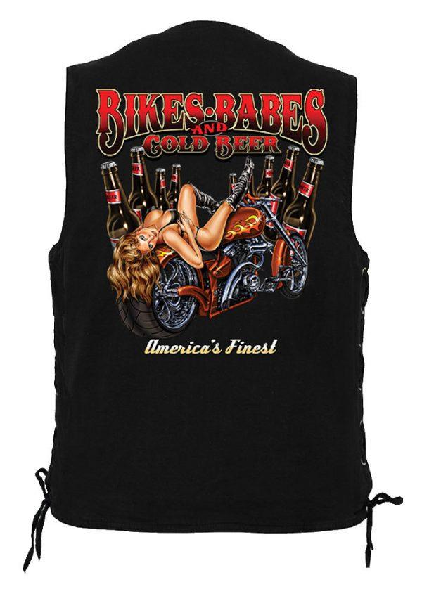 men's denim biker vest with bikes and babes beer design
