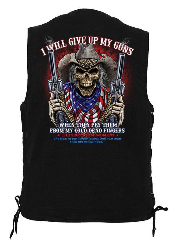 men's denim biker vest give up guns skeleton design