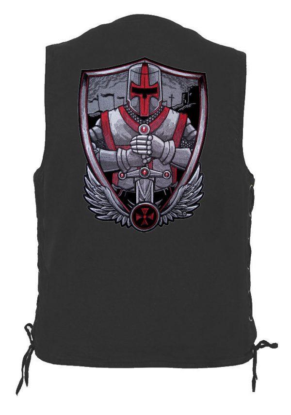 mens denim biker vest with Christian crusader patch