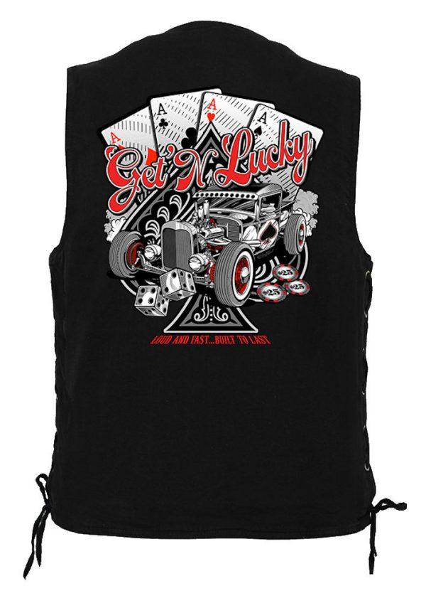 men's denim biker vest get n lucky design