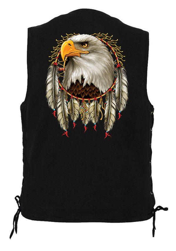 men's biker denim vest with eagle dreamcatcher design