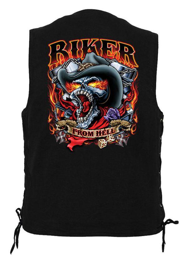 men's denim biker vest with bikers from hell design