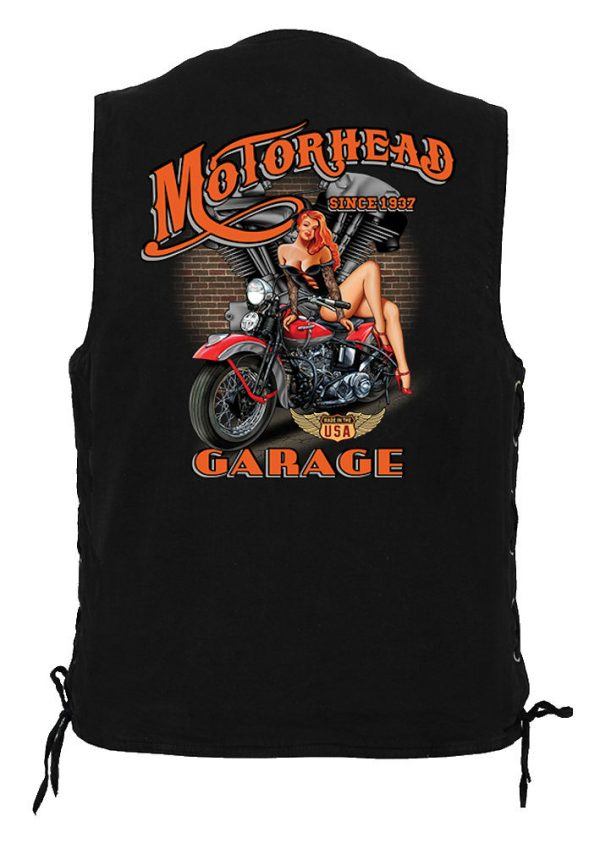 men's denim biker vest with motor head garage design