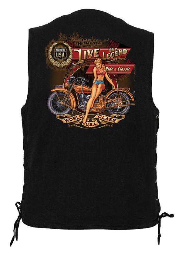 men's denim biker vest live the legend biker design