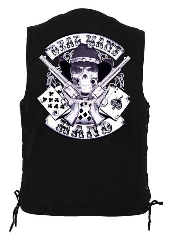 men's denim biker vest with Deadman's hand design