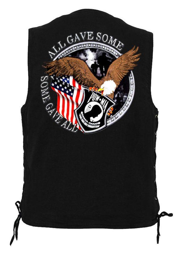 men's denim biker vest with pow-mia design