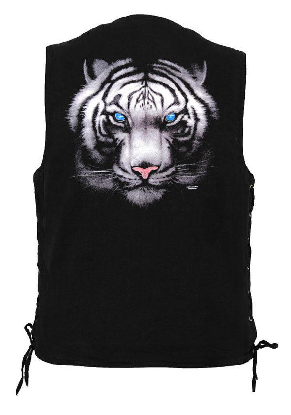 men's denim biker vest with blue eyed tiger design