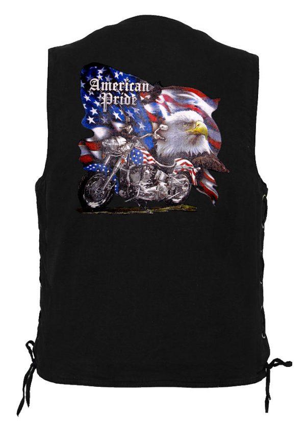 men's denim biker vest with American pride eagle design