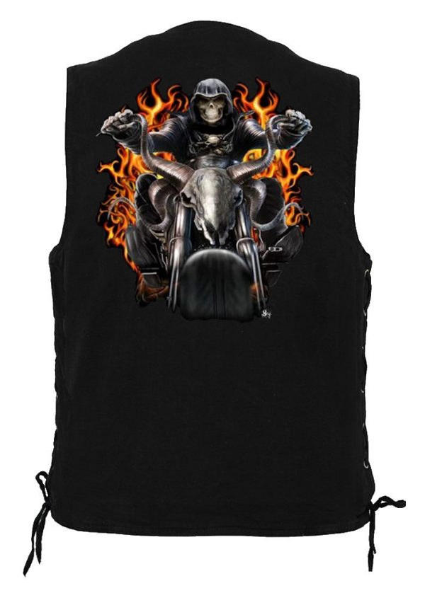 men's denim biker vest with Grim Reaper on Motorcycle Design
