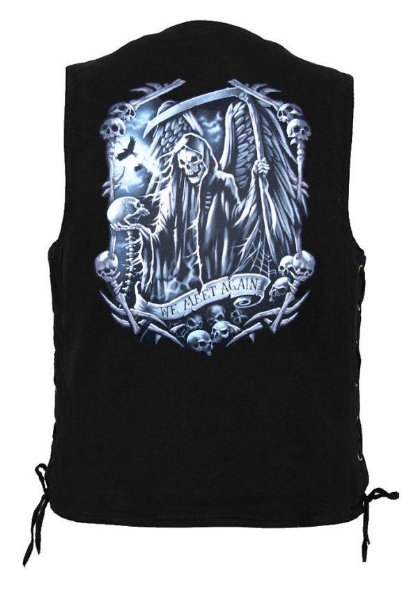 men's denim biker vest with grim reaper we meet again skulls design