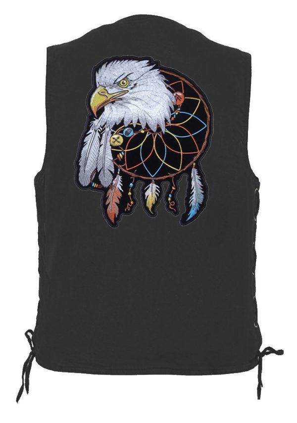 mens denim biker vest with eagle dreamcatcher patch