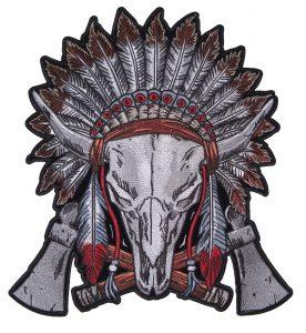 Native American steer headdress motorcycle biker patch