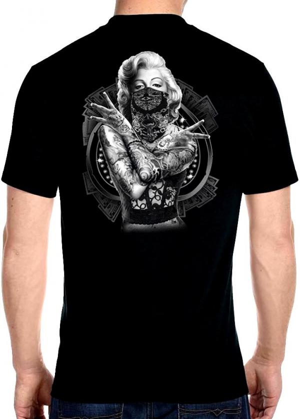 men's biker t-shirt with bad girl Marilyn Monroe design