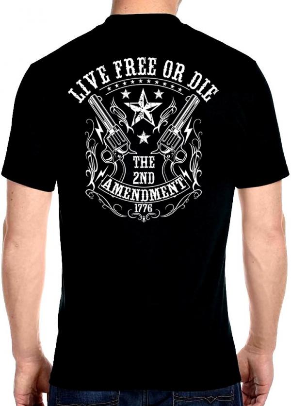 men's biker t-shirt with second amendment live free or die design