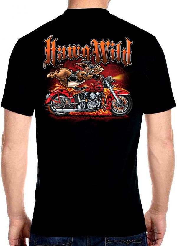 men's biker t-shirt with hawg wild motorcycle flames design