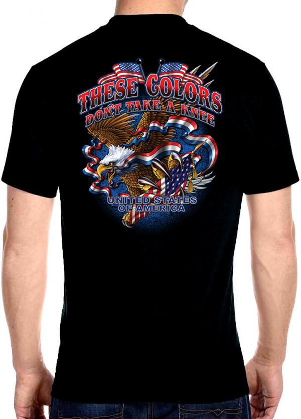 mens biker t-shirt these colors don't take a knee patriotic military eagle design