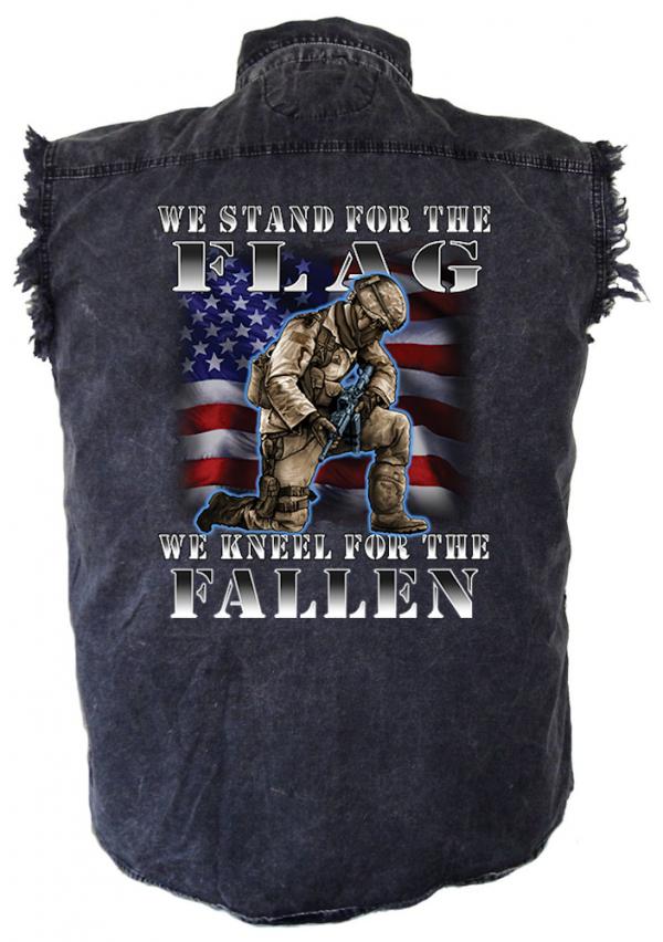 mens denim biker shirt stand for the flag kneel for fallen heroes military design