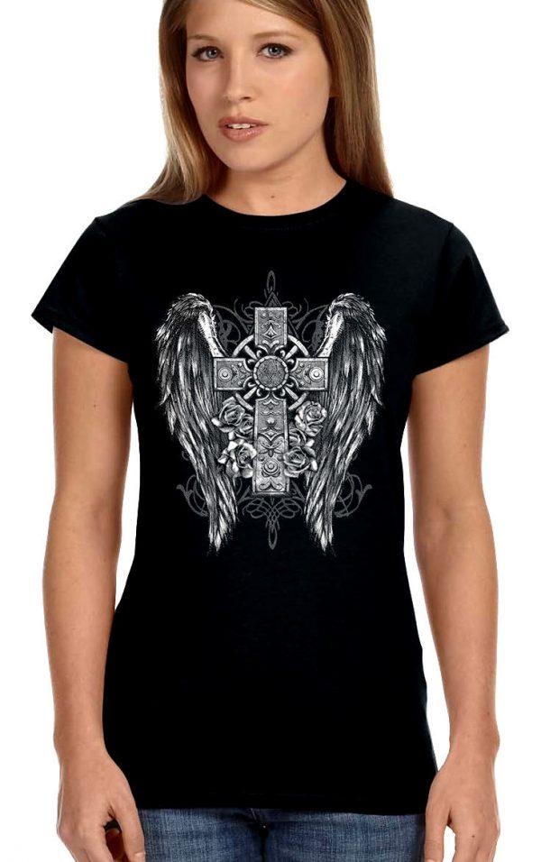 ladies biker t-shirt gothic cross