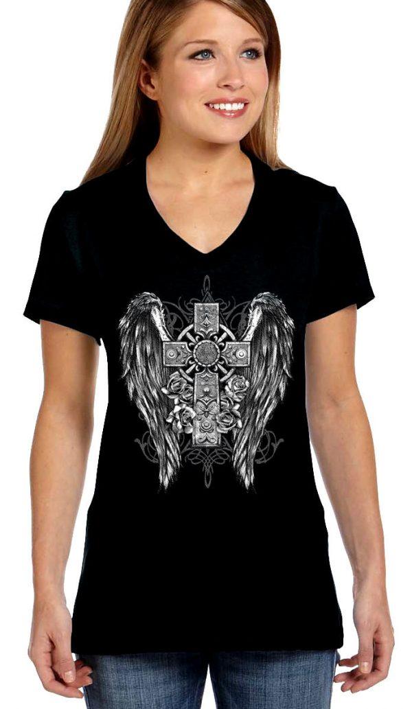 ladies biker tee gothic wings